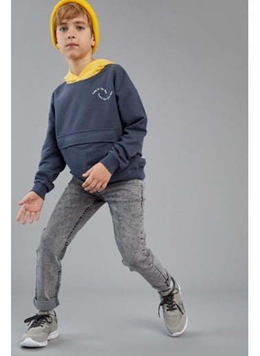DeFacto Erkek Çocuk Oversize Zarf Cepli Organik Pamuk Sweatshirt Antrasit
